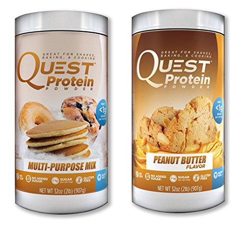 Quest Nutrition Quest Protein DxJQAr Powder, Multi Purpose/Peanut Butter 2lb Tub (1 of Each) by Quest Nutrition