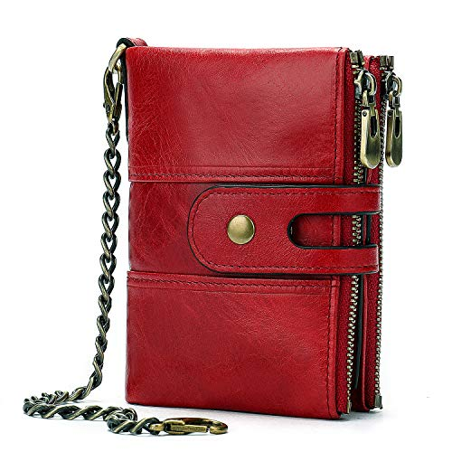 Genuine Leather Soft Bifold Rfid Wallets for Men Coin Purse Keychain Snap Zip Wallet with Chain Red