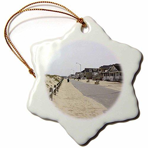 3dRose ORN_38301_1 Walking Along The Warm boardwalks of The Jersey Shore Snowflake Porcelain Ornament, 3-Inch