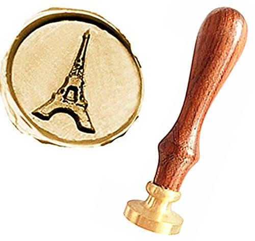 MNYR Vintage The Eiffel Tower Gift Cards Sealing Art Wax Seal Stamp Rosewood Handle Decorative Wedding Invitations Gift Cards Paper Stationary Envelope Custom Logo Picture Wax Seal Sealing Stamp Set