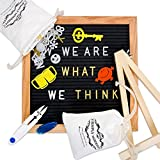 Changeable Letter Board, Black Felt 10 x 10 inches Bulletin Letterboard - 510 White & Gold Letters, Numbers, Symbols, 15 Stickers, Emojis, Wood Stand, Scissors and 2 Bags with Wall-Mount