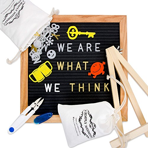 Heart Message Ring - Changeable Letter Board, Black Felt 10 x 10 Inches Bulletin Letterboard - 510 White & Gold Letters, Numbers, Symbols, 15 Stickers, Emojis, Wood Stand, Scissors and 2 Bags with Wall-Mount