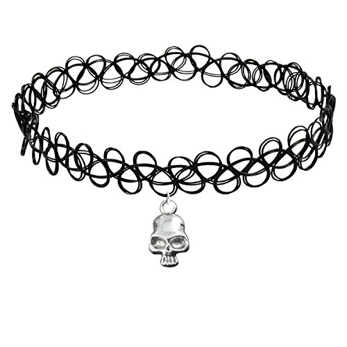 Cozylife Girls Black Stretch Gothic Tattoo Henna Collar Choker Necklace Elastic with Skull Pendant Vintage Sliver