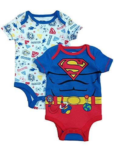 DC Comics Superman Infant Bodysuit 2-Pack (12 Months) Blue, Red -