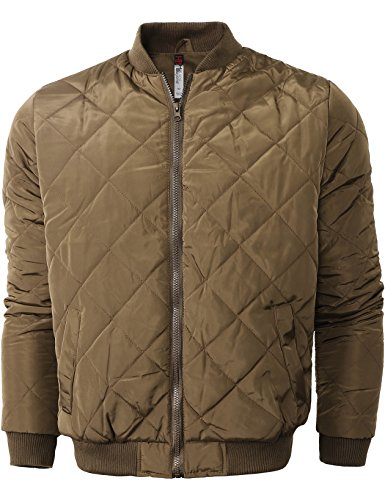 Hat and Beyond Mens Quilted Padded Bomber Jacket Lightweight (X-Large/ 4010_Khaki)