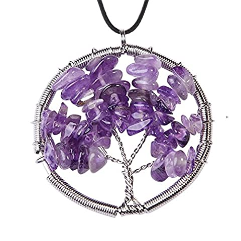 ALoveSoul Amethyst Gemstone Necklace - Tree Life Pendant Wire Wrapped Creative Stone Necklace - Life Pendant Wire