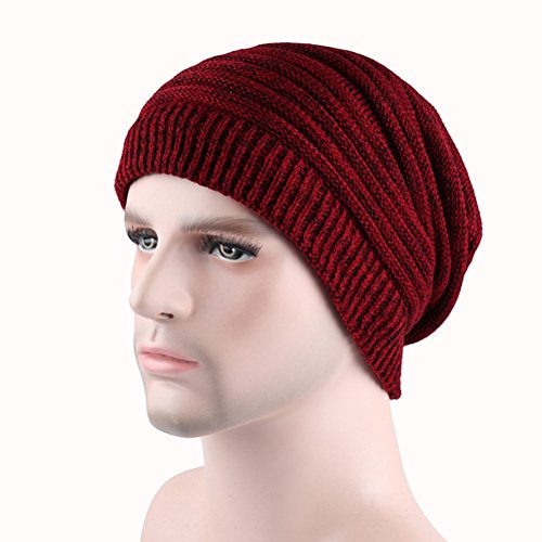 Slouchy Winter de Ski Hat Warm Women's Skull Beanie Men's Rojo Knit Cap Cable Thick Zhhlaixing Gorros punto zHqFpF