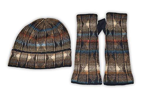 Invisible World Women's Alpaca Wool Glove and Hat Sets Fingerlesss Winter Reflexion L Set