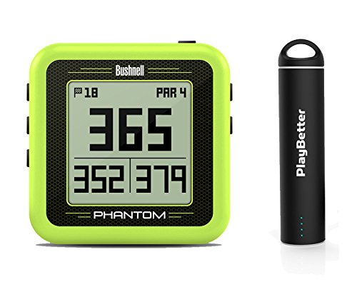 Bushnell Phantom (Yellow) Power Bundle with PlayBetter Portable USB Charger (2200mAh) | Handheld Golf GPS, Built-In Golf Cart Magnet, 35,000+ Pre-Loaded Courses, Compact & (2200 Cart)
