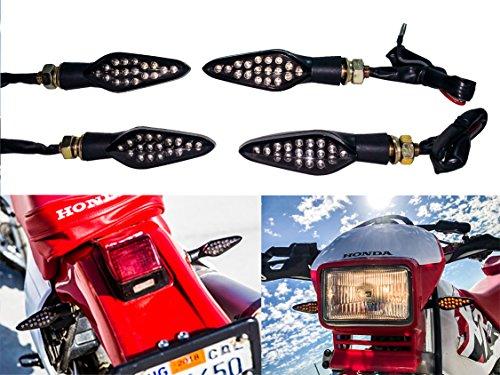 2 Pair Motorcycle Front & Rear OZ-USA Turn Signal Amber LED Light Dual Intensity Smoke Lens 12 Volts Universal Blinker