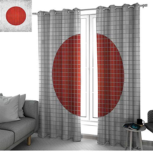 bybyhome Abstract Blackout Curtains Panels for Bedroom Mosaic National Flag of Japan Grunge Fractal Background Modern Graphic Print Kids Curtain Pale Grey Orange W84 x L108 Inch ()