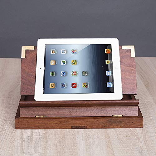 Rusticity Wooden Tablet Stand, Book Stand for Desk w/Adjustable Foldable Tray, Office and Home, |Handmade| (12x8 in)