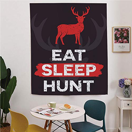 (Hunting Decor Blackout Window curtain,Free Punching Magic Stickers Curtain,Eat Sleep Hunt Inspirational Quote Grunge Deer Silhouette Antlers Decorative,for Living Room,study, kitchen, dormitory,)