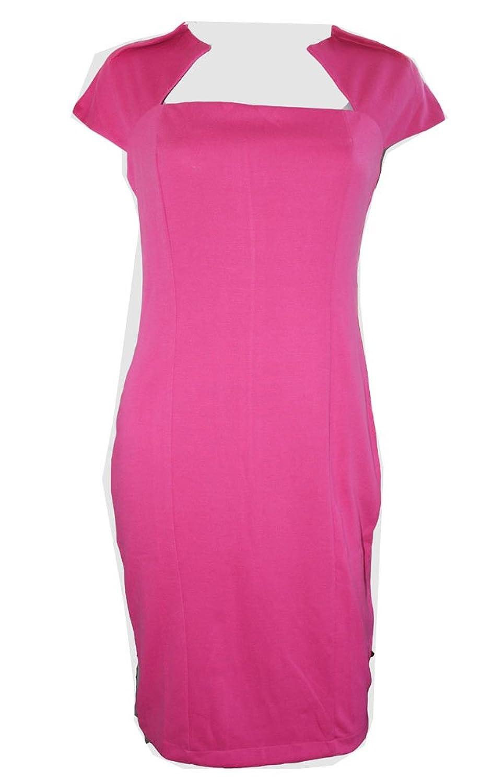 WIIPU Elegant Ladies' V-Neck Fashion Celebrity Pencil Dress(J32) (XL, rose)