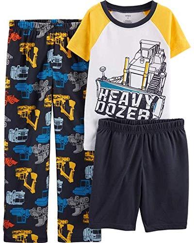 Carter's Boys' 3-Piece Poly Pajama Sets (Yellow/Heavy Dozer, 6)