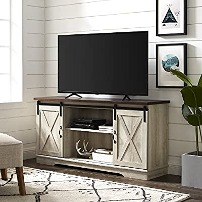 """Walker Edison Furniture Company Modern Farmhouse Sliding Barndoor Wood Stand for TV's up to 65"""" Flat Screen Cabinet Door Living Room Storage Entertainment Center, 28 Inches Tall, White Oak - Dimensions: 28"""" H x 58"""" L x 16"""" W Cable management features to run cords in the back of the TV stand Made from high-grade certified MDF for long-lasting construction - tv-stands, living-room-furniture, living-room - 51Zm2Buhz6L. SS400  -"""