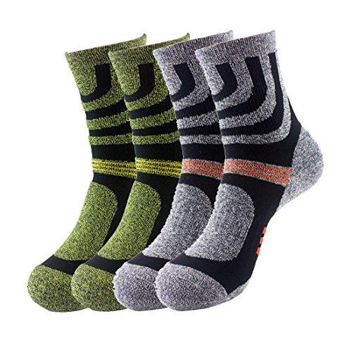 Bonvince Men's High Performance Moisture Wicking Hiking & Trekking Socks 4-Pack Green/Gray