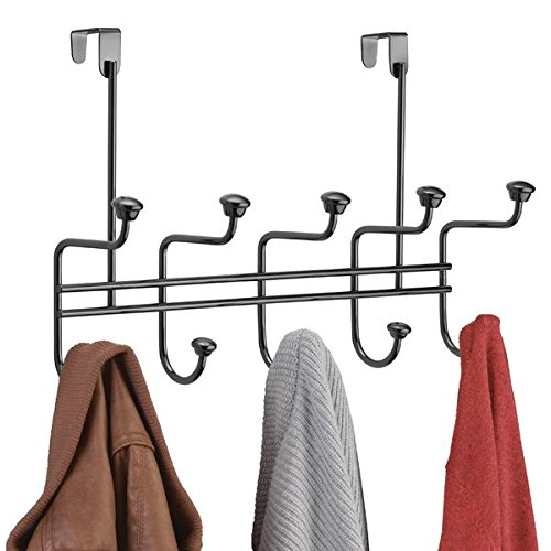 mDesign Over Door 10 Hook Steel Storage Organizer Rack for Coats, Hoodies, Hats, Scarves, Purses, Leashes, Bath Towels & Robes - Black Chrome