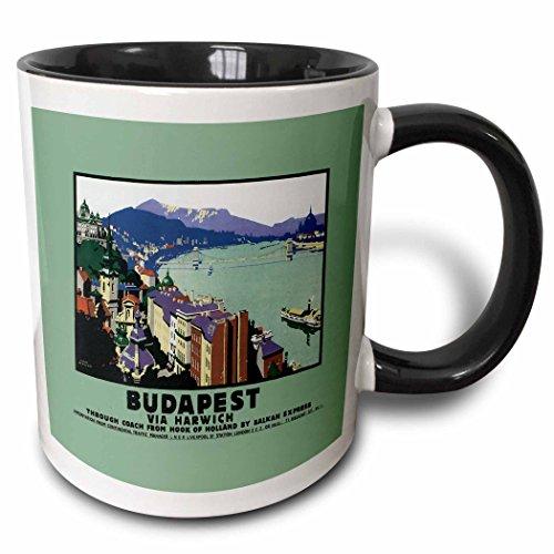 3dRose 171021_4 Budapest Via Harwich River Scene With Boats And The Bridge Two Tone Mug, 11oz, Black