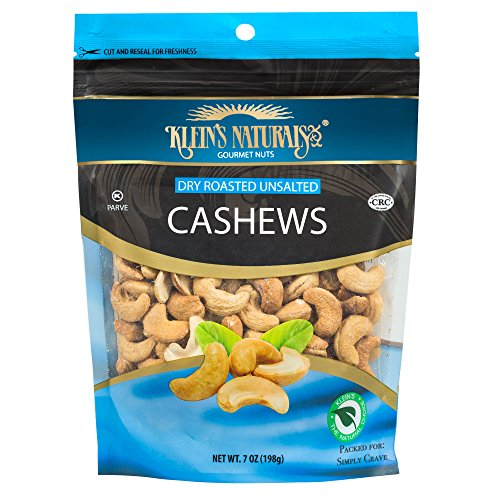 Kleins Natural's Dry Roasted Unsalted Cashews, Cashew Nuts, Dry Roasted Nuts, Fresh Raw Cashews are Dry Roasted to Perfection, Quick Healthy Whole Cashews Snack, 7-Ounce (Pack of 3)