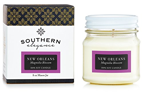Southern Elegance New Orleans: Magnolia Blossom Scented Soy Candle 8oz Mason