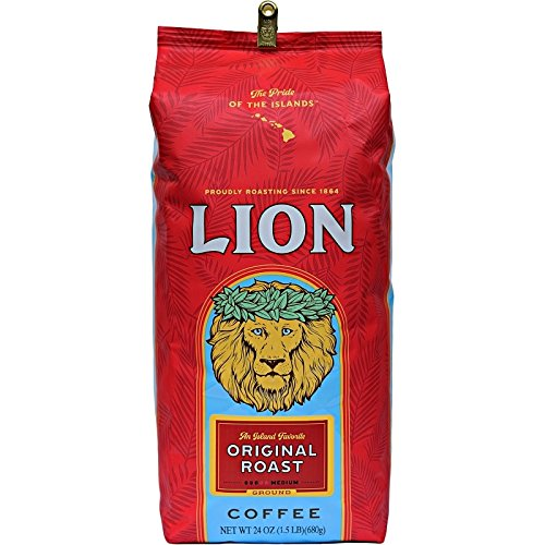 Lion Coffee ORIGINAL Roast, Whole Bean, HUGE 24 Oz. BARGAIN BAG with 10-gram Coffee Scoop, AN ISLAND FAVORITE