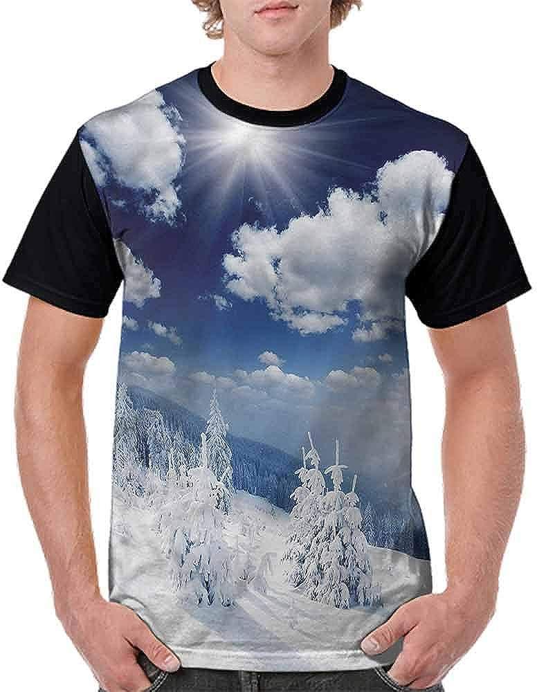 BlountDecor Cotton T-Shirt,Seasonal Central Park Scene Fashion Personality Customization