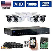 GW Security AHD 4CH 1080P DVR Video Surveillance Camera System 4 1080P 2.1 Megapixel Outdoor 34 IR LEDs 100ft Weatherproof Night Vision Bullet Security Camera