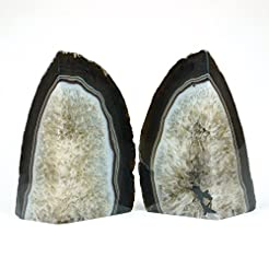 JIC Gem Agate Bookends with Rubber Bumpe...