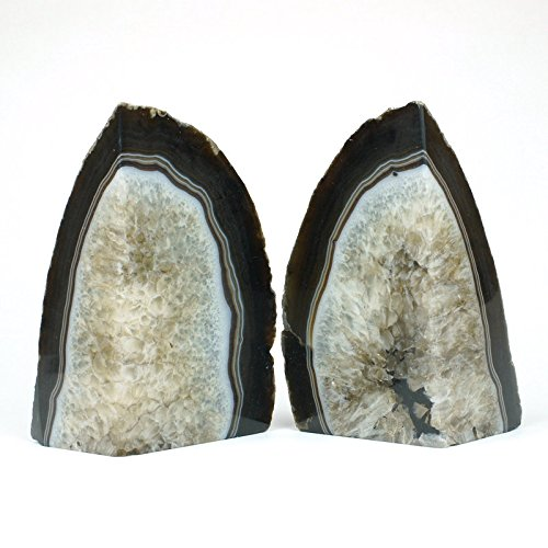 JIC Gem:Natural Polished Dyed Black Crystal Agate Bookend(s) - 1 Pair - 4 to 6 (Black Bookend)