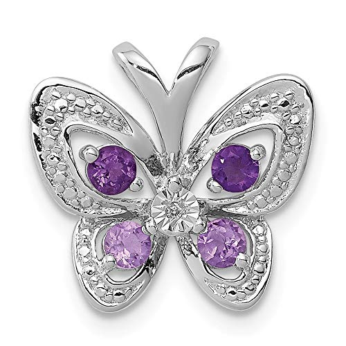 925 Sterling Silver Purple Amethyst Pink Quartz Diamond Pendant Charm Necklace Gemstone Fine Jewelry Gifts For Women For -