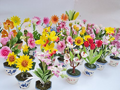 Flamingo Goblet Set (Handmade Mini Orchids Clay Flower for Home Decor (Set mixes 10 Pcs.))