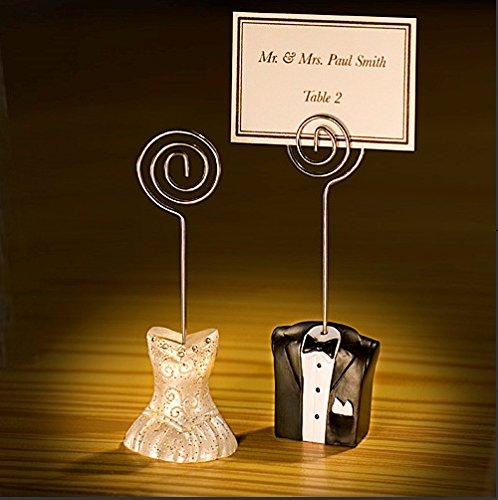 e-meoly segnaposto Holder resina sposo/sposa stile di supporto a morsetto da tavolo note memo foto carta di nome supporto a clip per giardino, matrimoni Deco set di 5paia (sposo/sposa per coppia)