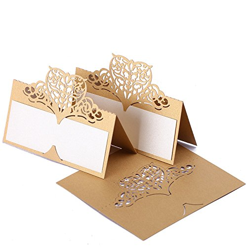 60pcs Lace Wedding Place Cards Personalised Table Name Reception Decoration with Biege-gold Lace Pattern Cardstock for Wedding Favors,Party ()