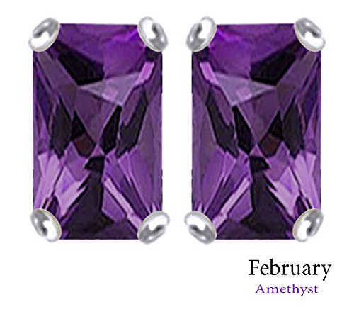 7x5mm Emerald Cut Simulated Amethyst Stud Earrings in 14k White Gold Over Sterling Silver