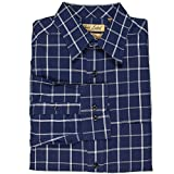 Roundtree & Yorke Gold Label Non-Iron Wrinkle Free Perfect Performance Men's Big & Tall Long Sleeve Shirt (Midnight Blue Windowpane/2XT)