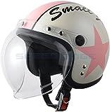 【レディース・キッズ】スモールジェットヘルメット バブルシールド付 パールホワイト/サクラ 54cm~57cm未満