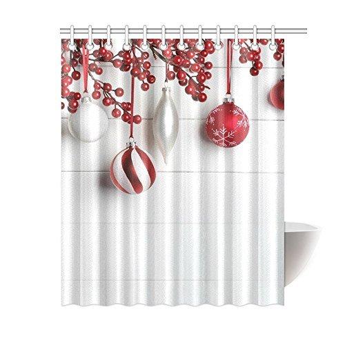 Weihnachten Duschvorhang Schone Polyester Kugeln Rot Girlande Art