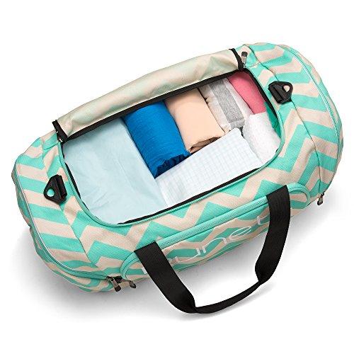 Runetz - Chevron TEAL Blue Gym Bag Athletic Sport Shoulder Bag for ... 35f9b16d2ad30