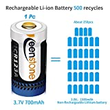RCR123A Rechargeable Batteries and Charger, Keenstone 8Pcs 3.7V 700mAh Li-ion Battery w/ 8-Ports Charger and Camera Skin for Arlo VMC3030/3230/3330/3430/3530 Security Cameras
