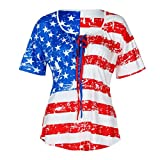 Nikuya Womens Fashion Sexy Plus Size Curve Appeal Flag Independence Day Printing T-Shirt Blouse Tops (XXXXXL, Red)
