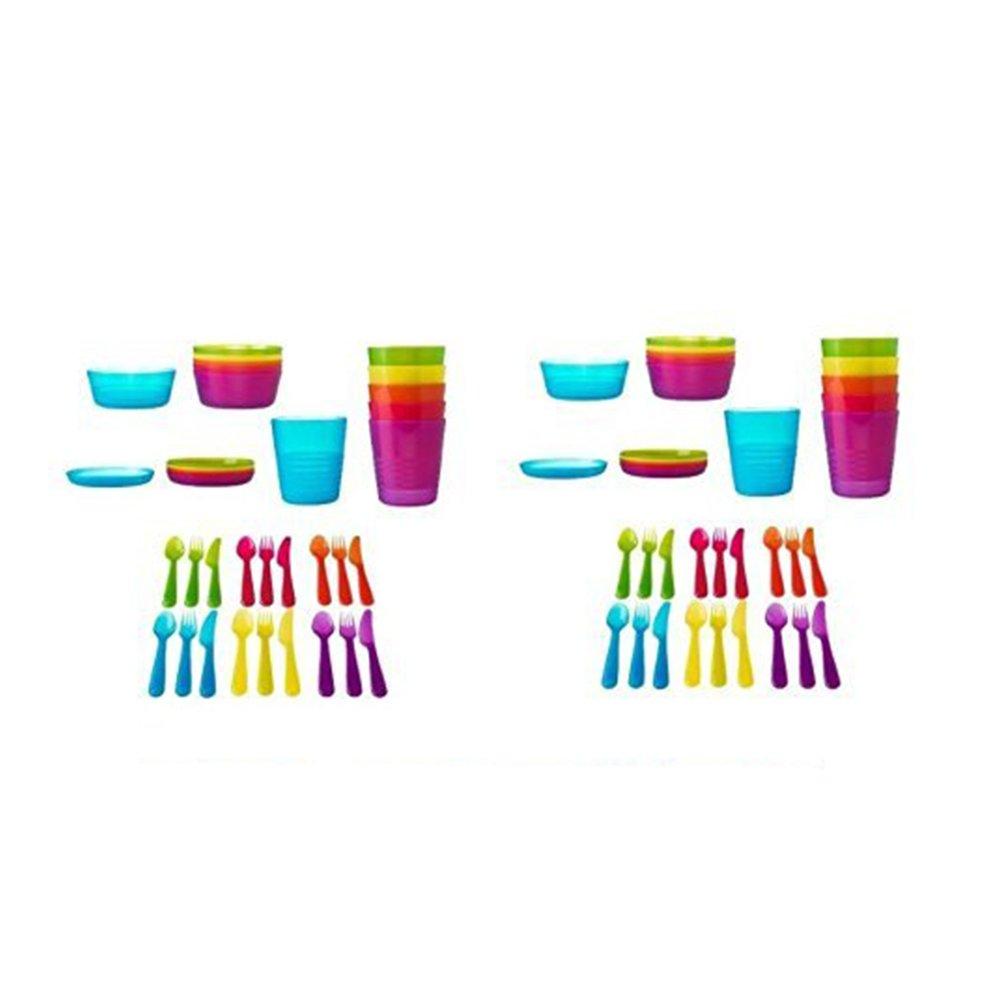 Ikea 72Pcs Kalas Kids Plastic BPA Free Flatware, Bowl, Plate, Tumbler Set, Colorful (72 Piece) by IKEA   B00LTSZT3K