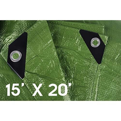 Hanjet Waterproof tarps Tarpaulin 15 x 20 5 Mil Thick Camping Poly Tarp Army Green (Green Outdoor Furniture Mil)