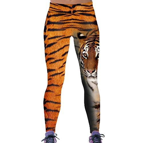 Tigers Womens Pants - Comeon Women\'s High Waist Ankle Leggings Slim Fit Skull Angel Wings Print Skinny Active Gym Yoga Pants for Halloween (Tiger,S)