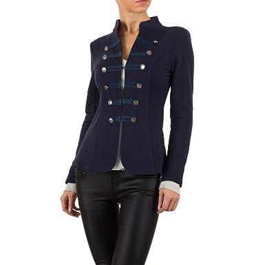 af39e5089085 Schuhcity24 Damen Jacke Admiral Uniform Blazer Kurzejacke Anzug Outwear  Jacke Jäckchen Tops Frühling Herbst Dunkelblau XL  Amazon.de  Bekleidung