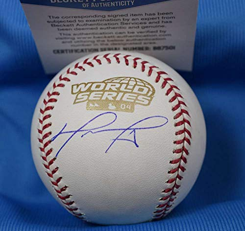 (DAVID ORTIZ Signed BAS Beckett Coa 2004 World Series Baseball Autograph)