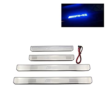 Listones de umbral, embellecedores para puertas, de acero inoxidable, tiras con borde y relieve, con luz LED (4 unidades): Amazon.es: Coche y moto