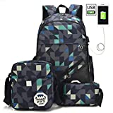 Fashionwu Backpack Set, Student Canvas High-Capacity Bag Double Shoulder Portable Travel Backpack Fashion Style Bag 3 Colors Matching