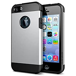 SE iPhone 5S 5 Caso duro, Fone-Stuff® - 2 capa de blindaje Shell Paperback cubierta de plata (Incluye protector de pantalla)