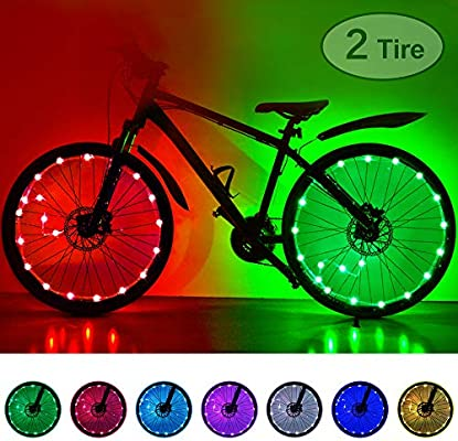 HOOMIL Luces LED impermeables para rueda de bicicleta, 7 colores ...